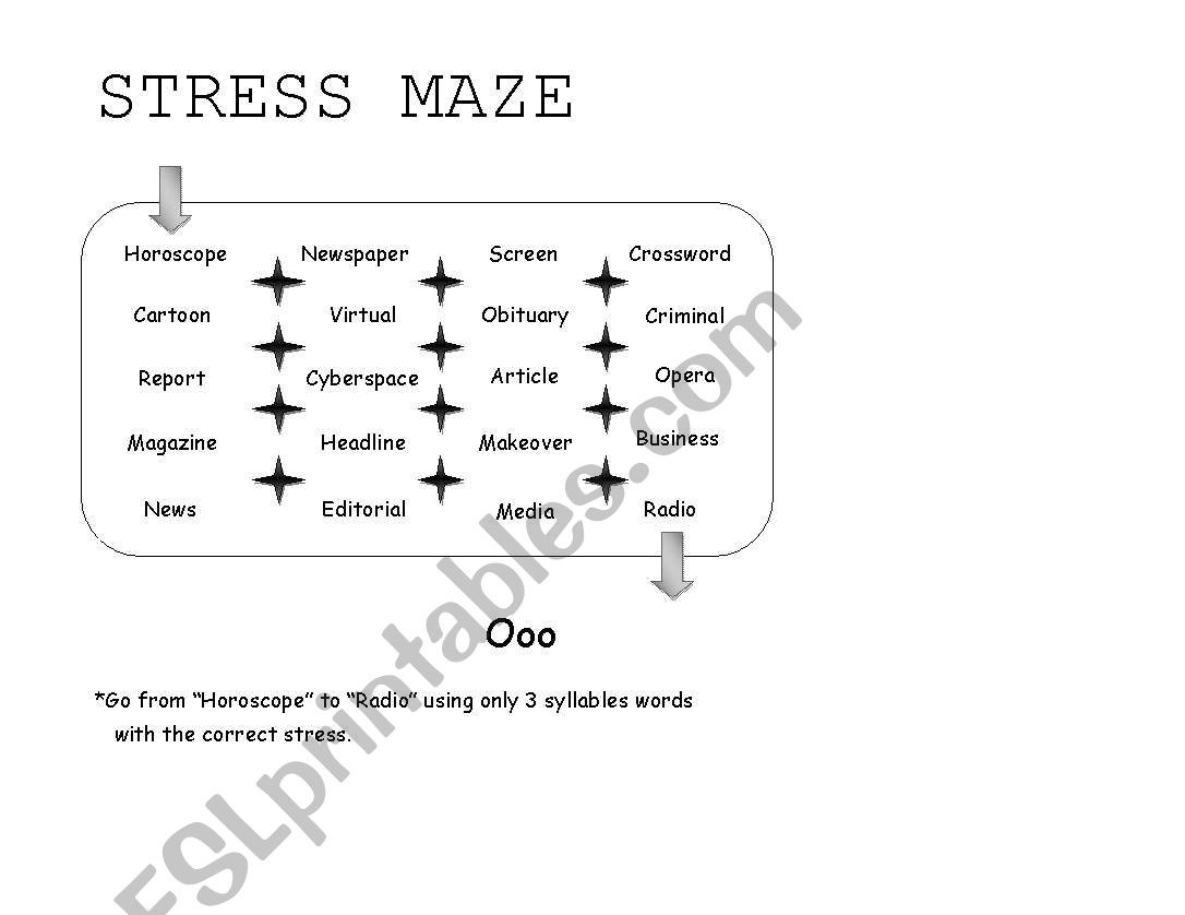 English Worksheets Stress Maze