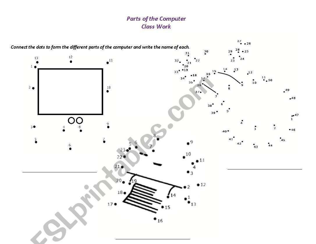 English Worksheets Parts Of The Computer