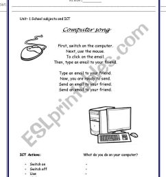 English worksheets: Computer song [ 1169 x 821 Pixel ]