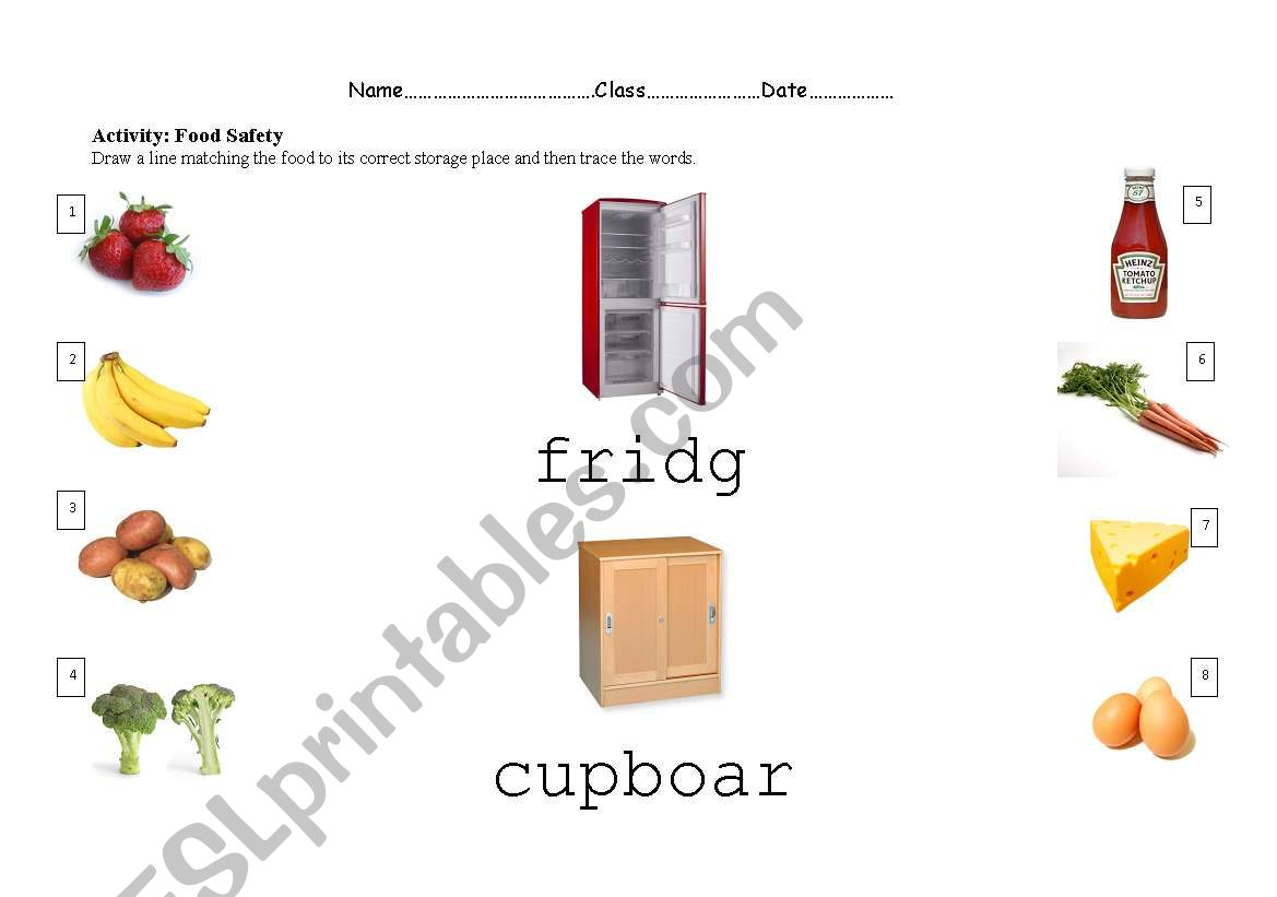English Worksheets Food Safety