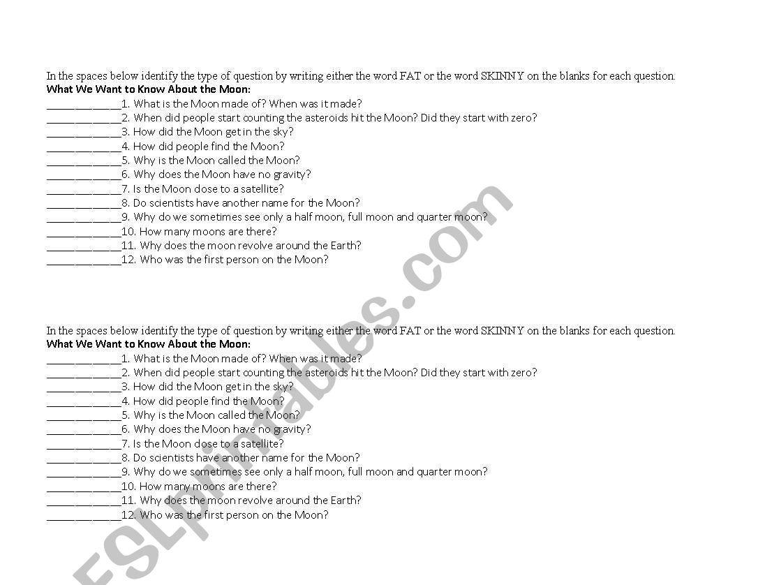 English Worksheets Fat Vs Skinny Questions