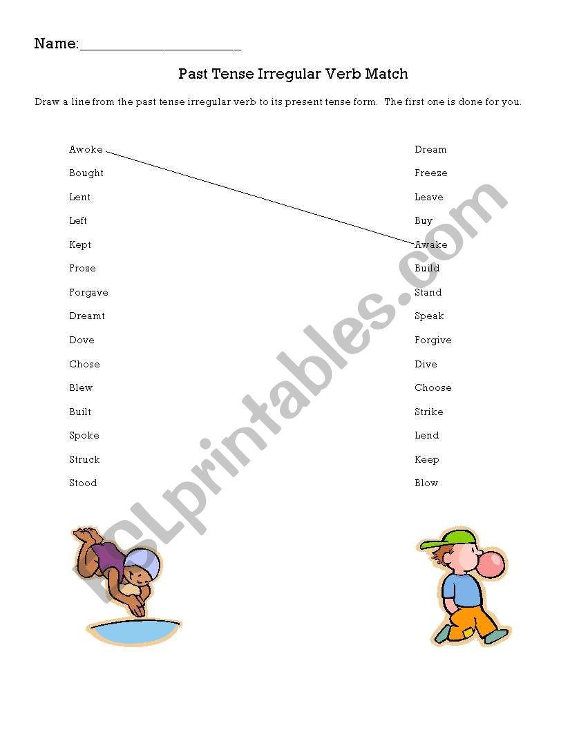 English worksheets: Past Tense Irregular Verb Match