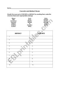 English worksheets: Concrete and Abstract Nouns