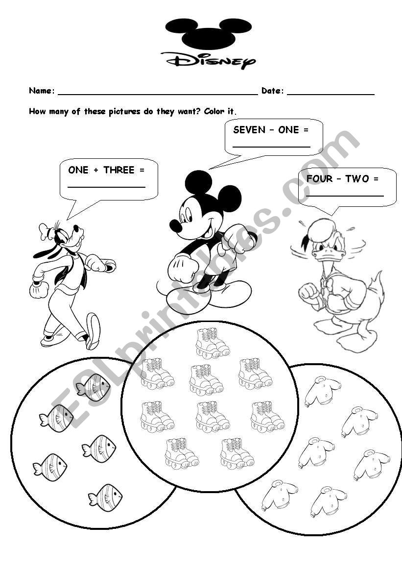 English worksheets: Disney Math
