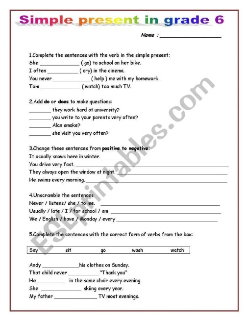 small resolution of simple present in grade 6 - ESL worksheet by mako5