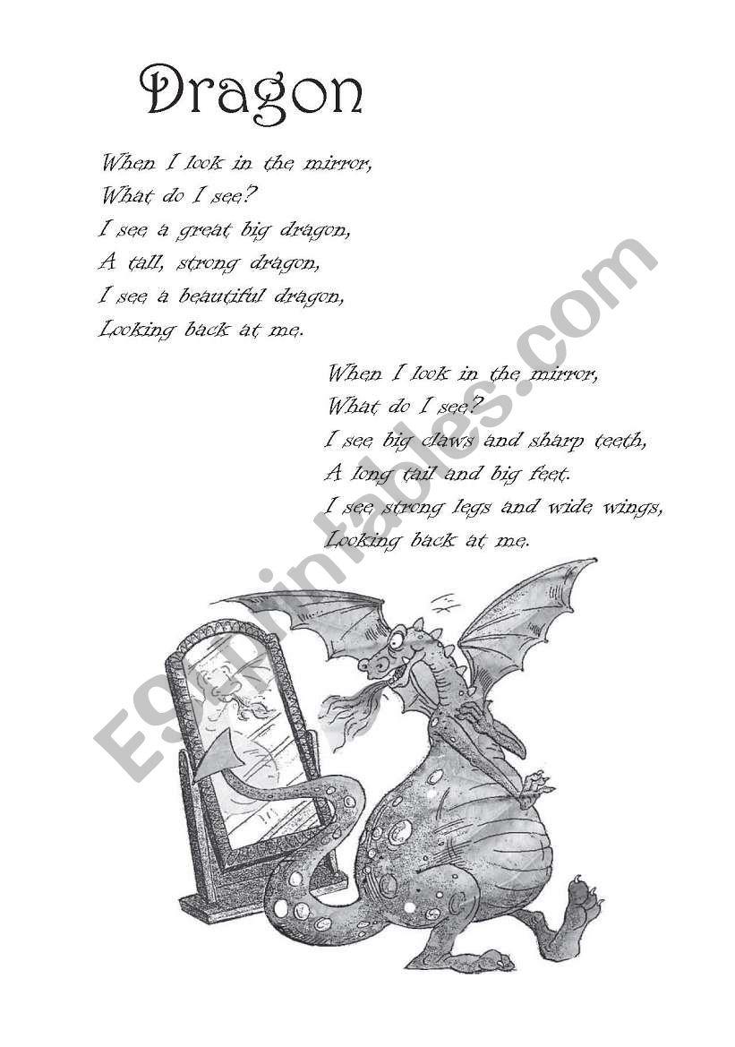 English worksheets: Poem: Dragon