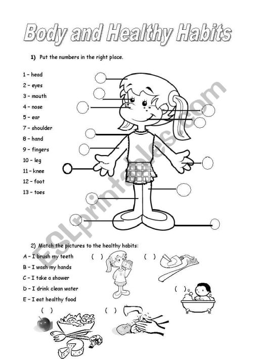 small resolution of body parts and healthy habits - ESL worksheet by noemi28