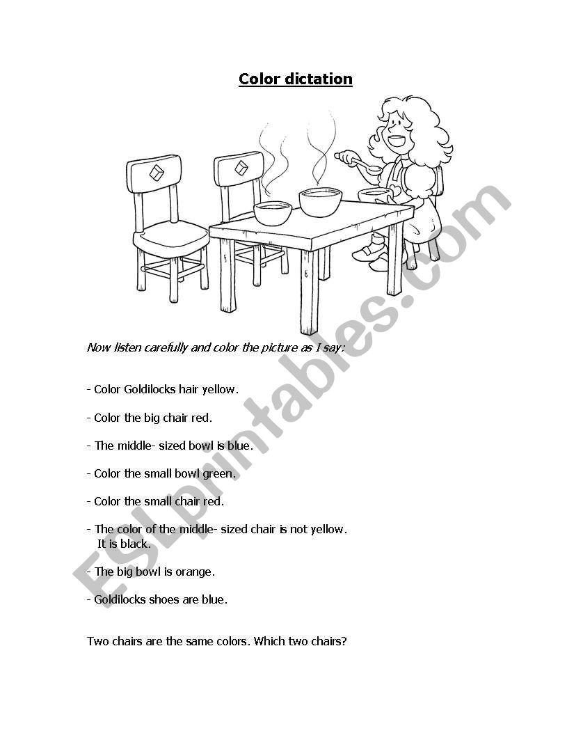English worksheets: Goldilocks Colour dictation