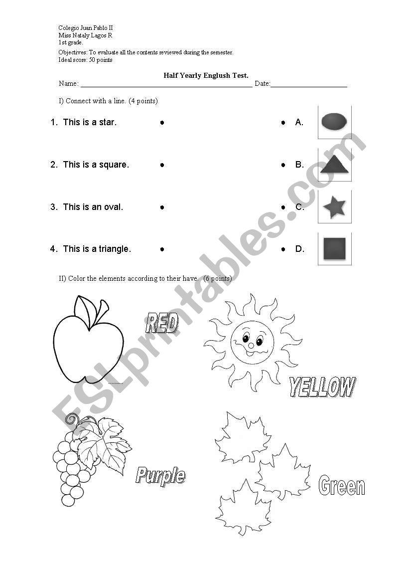 English worksheets: Test 1st grade