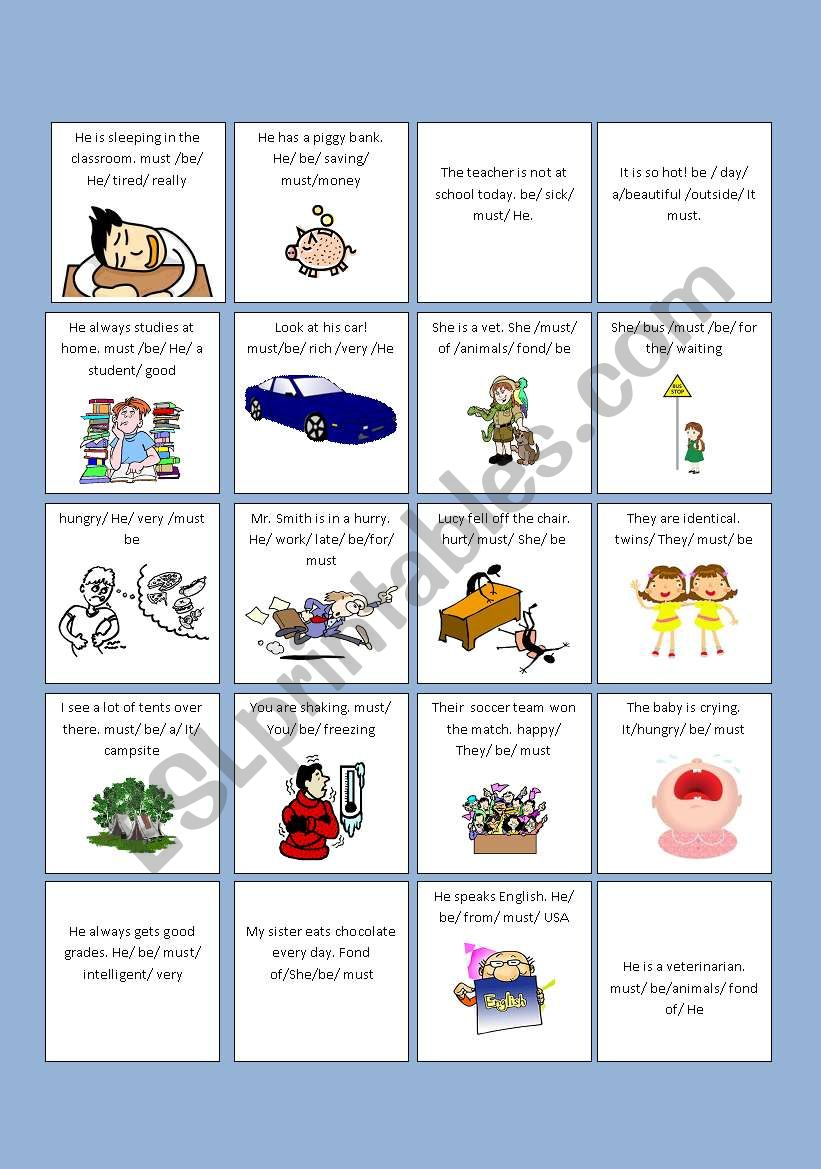 hight resolution of DRAWING CONCLUSIONS WITH \ MUST BE\ - ESL worksheet by barbarachiote