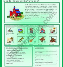OUR NEIGHBOURS - READING COMPREHENSION - ESL worksheet by ag23 [ 1086 x 838 Pixel ]