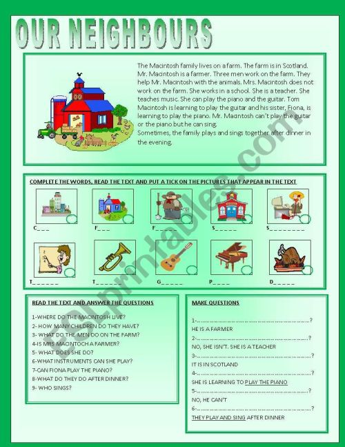 small resolution of OUR NEIGHBOURS - READING COMPREHENSION - ESL worksheet by ag23