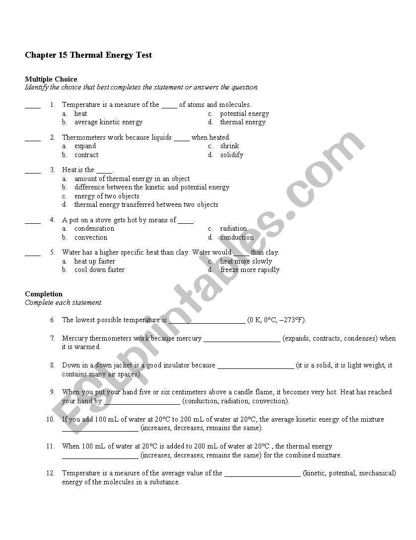medium resolution of Thermal Energy And Heat Worksheet - Promotiontablecovers