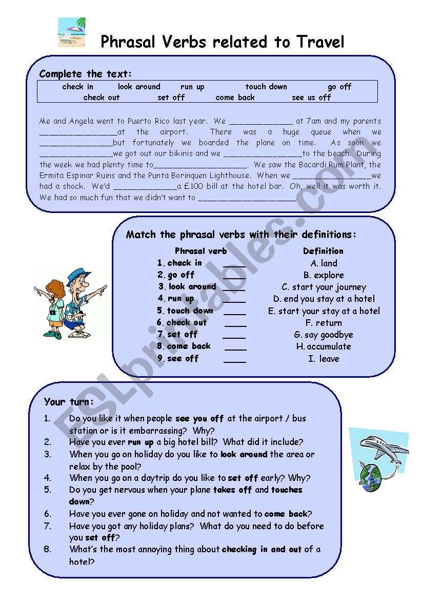 hight resolution of Travel phrasal verbs - ESL worksheet by Arianey