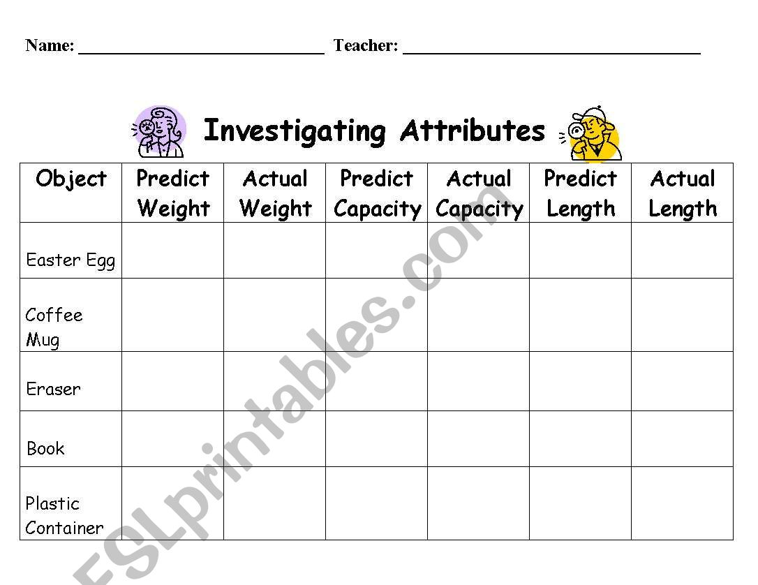English Worksheets Shape Attributes Properties