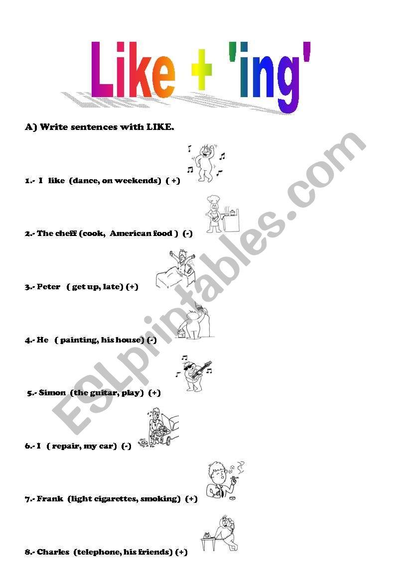 English worksheets: Verb LIKE + ING