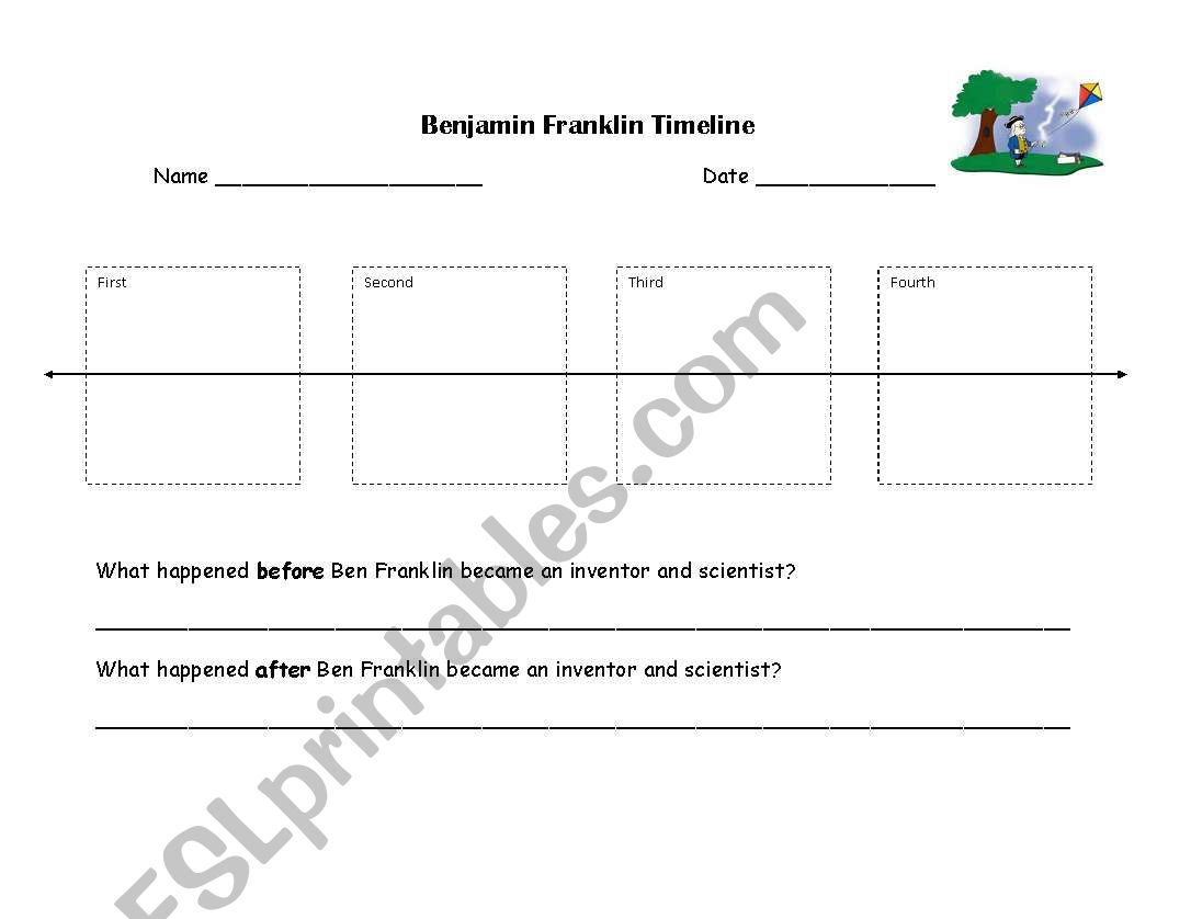 English Worksheets Benjamin Franklin Timeline