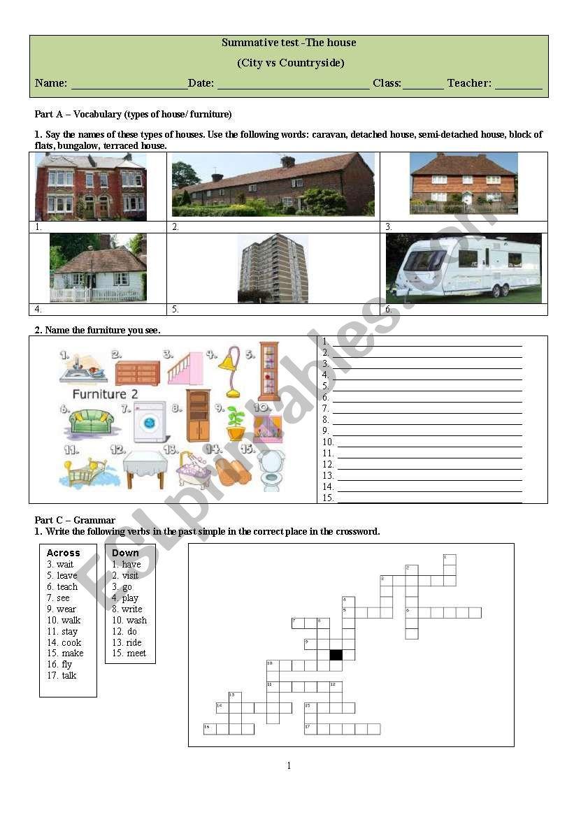 medium resolution of The House - ESL worksheet by WILSONCIRILOFERNANDES