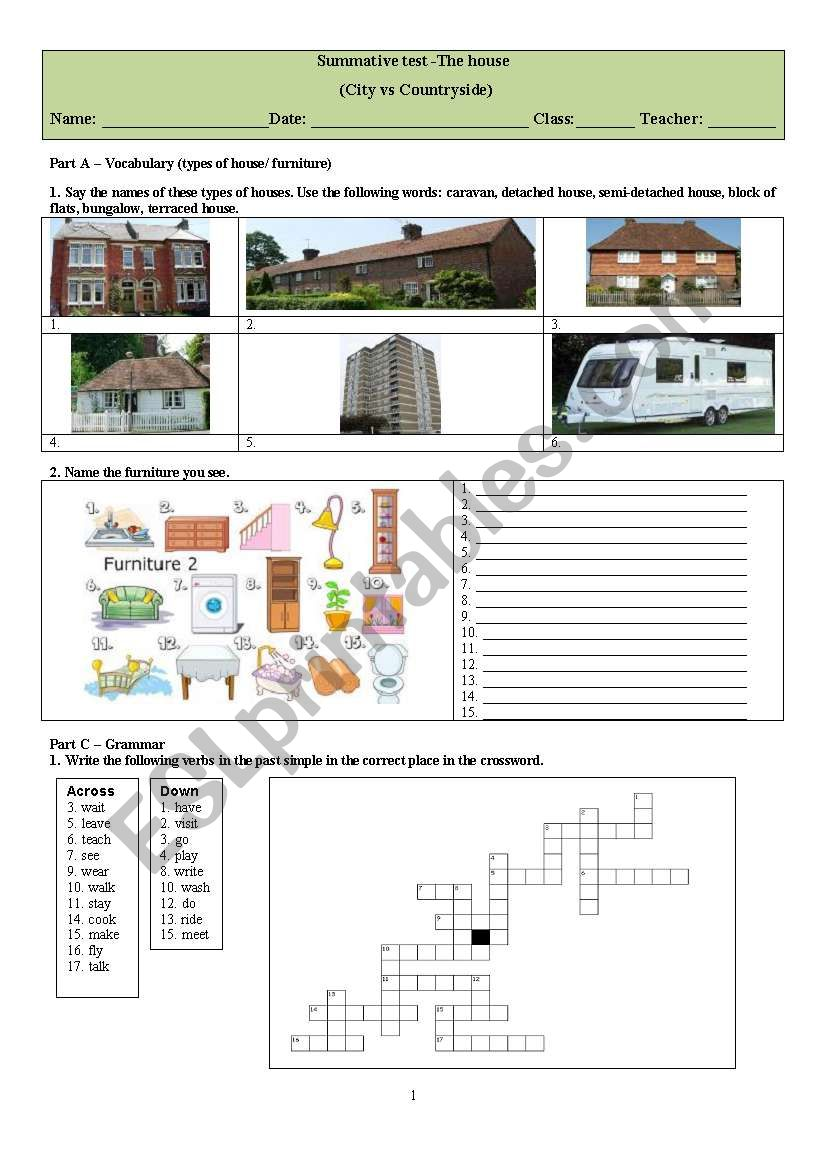 hight resolution of The House - ESL worksheet by WILSONCIRILOFERNANDES
