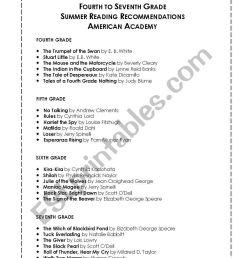 English worksheets: Summer Reading List [ 1086 x 838 Pixel ]