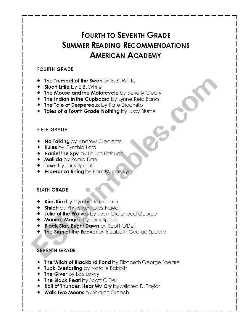 hight resolution of English worksheets: Summer Reading List