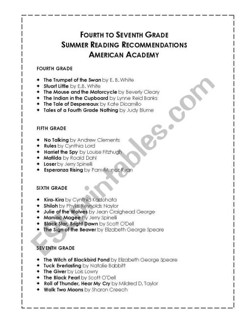 small resolution of English worksheets: Summer Reading List