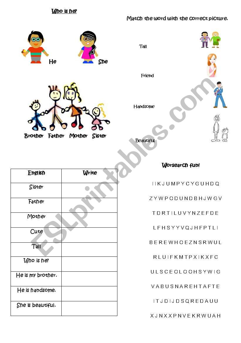 English worksheets: Who is he? Vocabulary