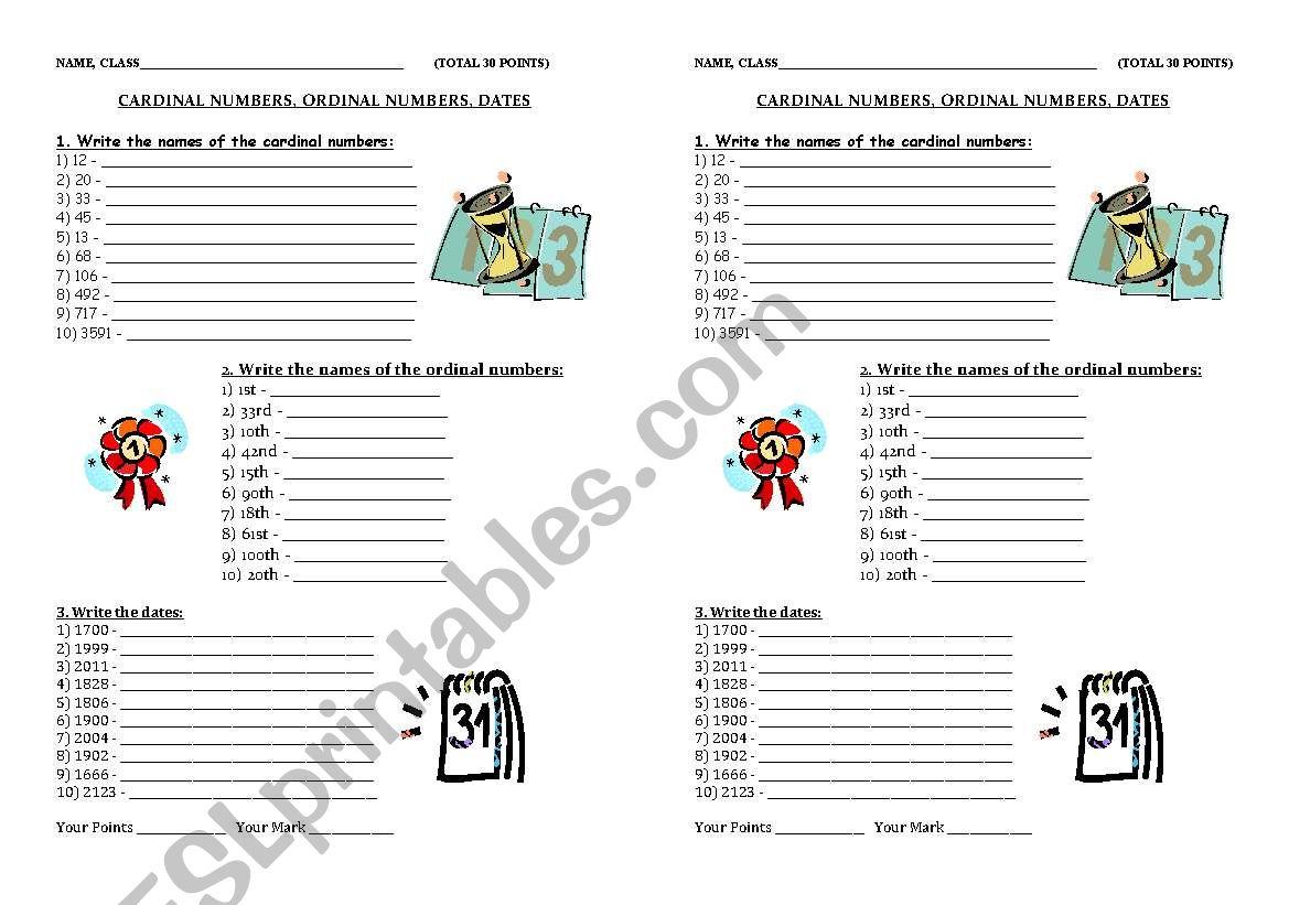 Cardinal And Ordinal Adjectives Worksheets For Grade 2 Pdf