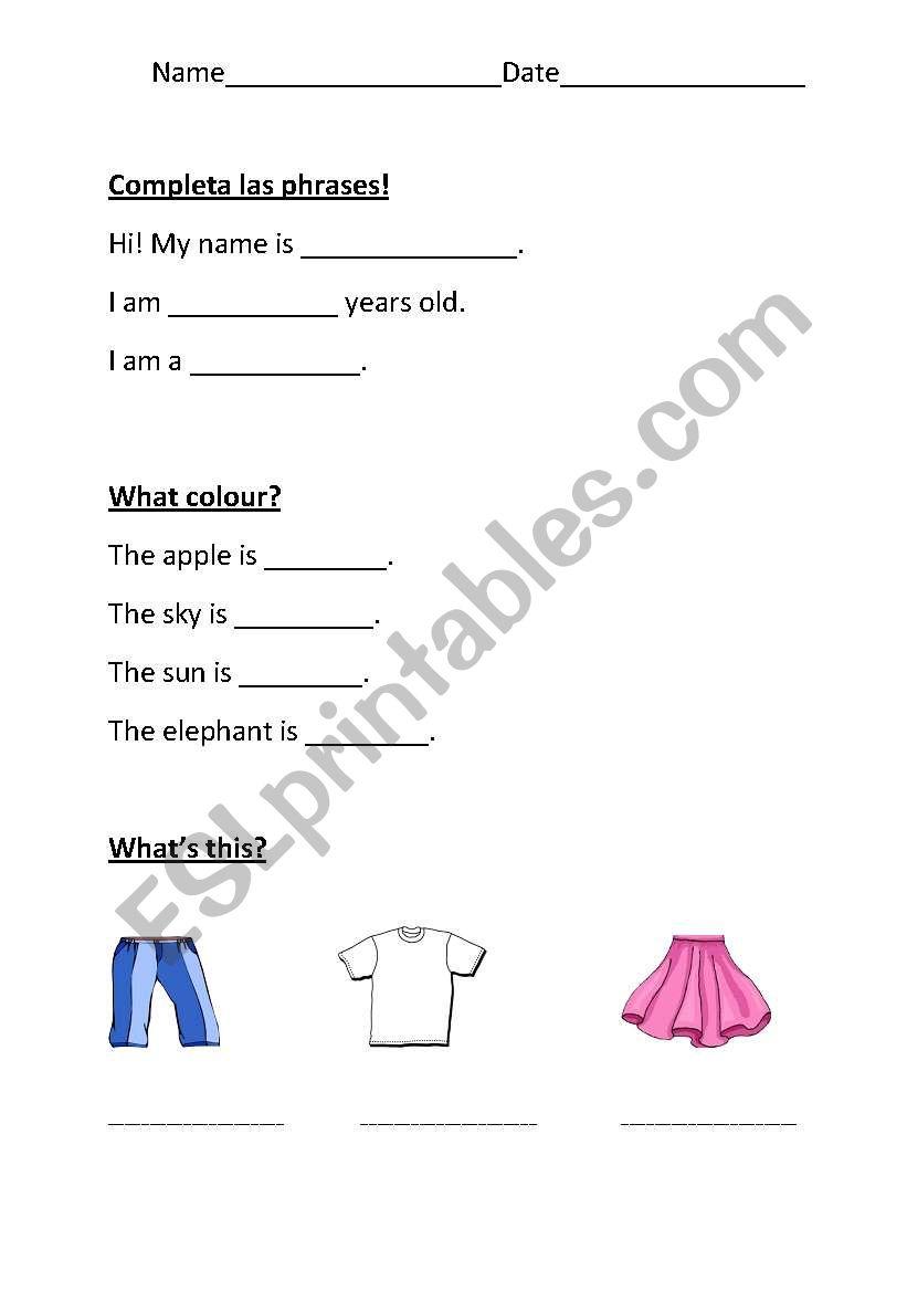 medium resolution of English worksheets: Test for 1.grade: Conversation