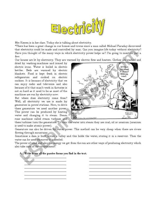 small resolution of Electricity - ESL worksheet by mandala