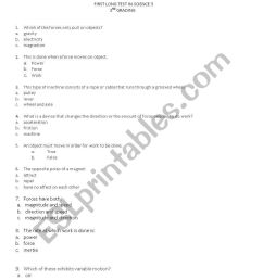 English worksheets: Science for grade five [ 1086 x 838 Pixel ]