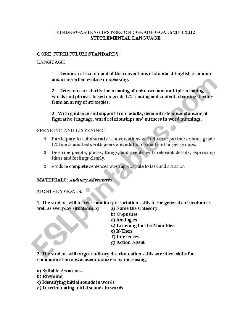 hight resolution of English worksheets: auditory processing