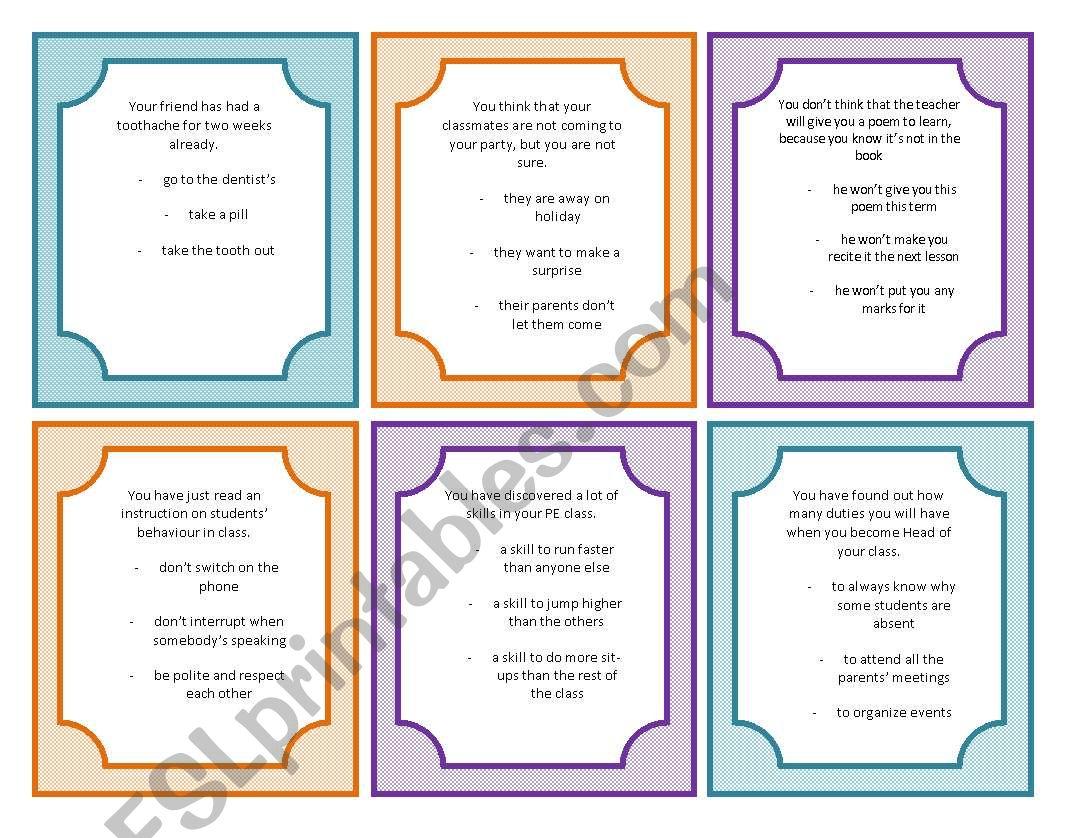 Modal Verbs Speaking Cards