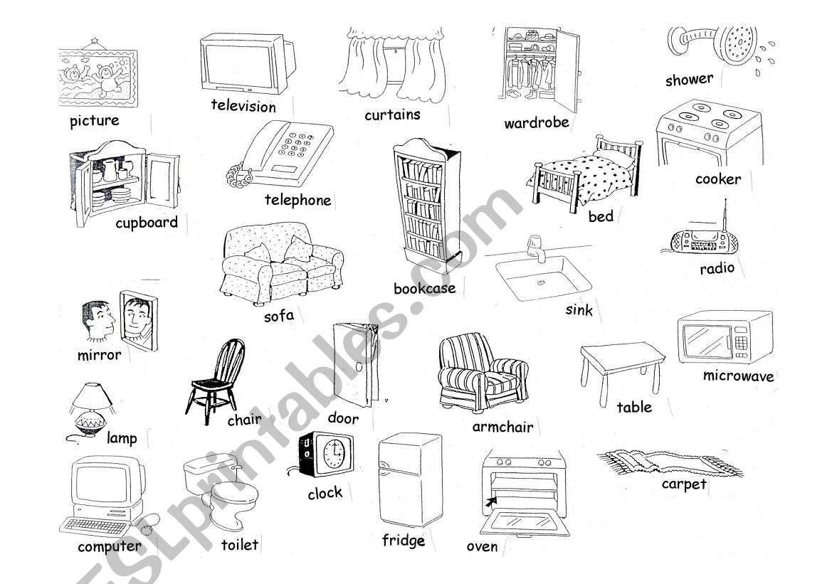Objects In The House Vocabulary