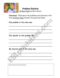 English worksheets: Problem/Solution Worksheet for Authur