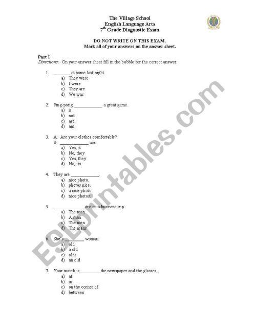 small resolution of English worksheets: Grade 7 Literature