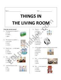 Things in Living Room - ESL worksheet by Rhae
