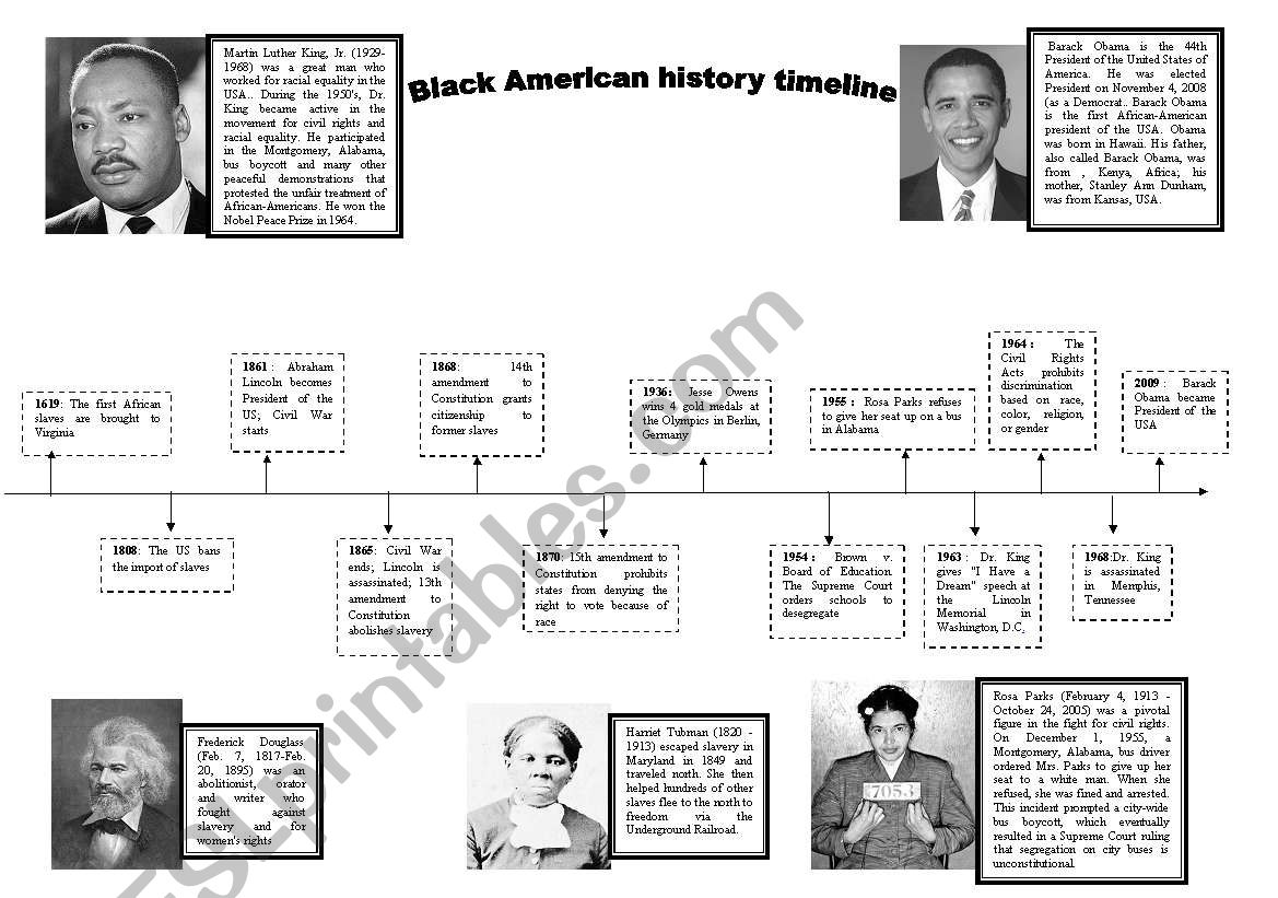 Black History Timeline Printable That Are Ridiculous