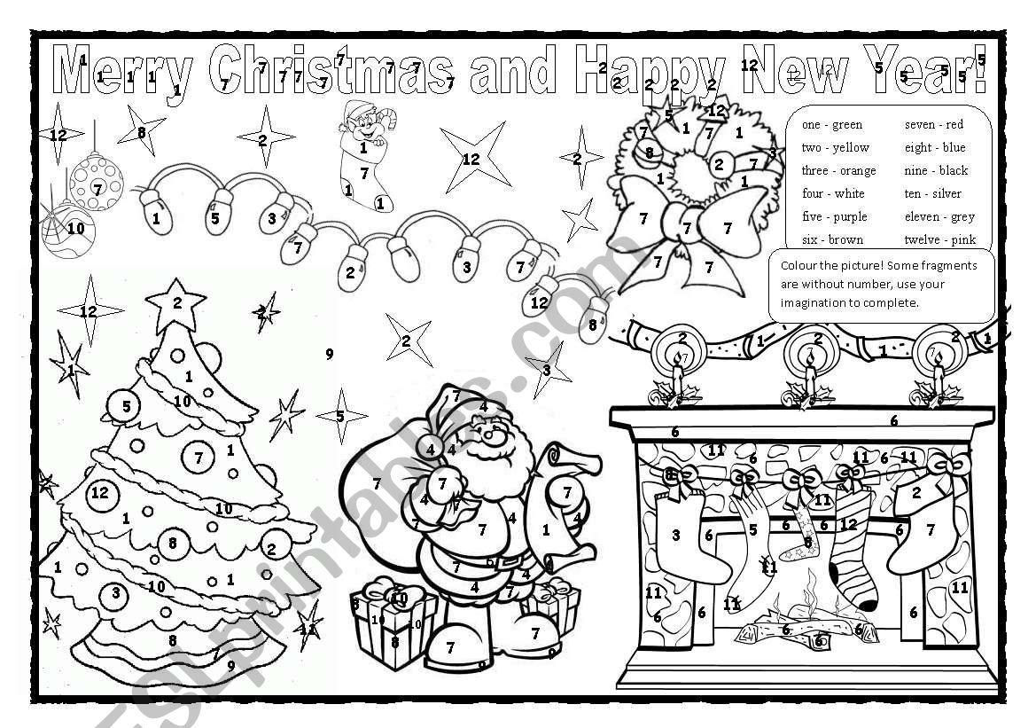 Christmas Colouring Numbers 1 12 And Colours