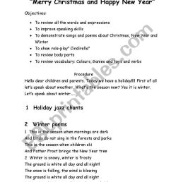 Lesson-holiday.Merry Christmas and happy new Year! - ESL worksheet by  Kristya [ 1169 x 821 Pixel ]