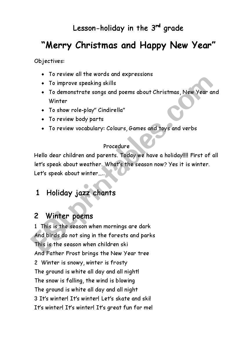 hight resolution of Lesson-holiday.Merry Christmas and happy new Year! - ESL worksheet by  Kristya