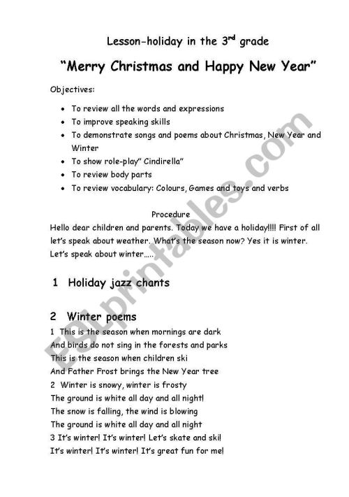 small resolution of Lesson-holiday.Merry Christmas and happy new Year! - ESL worksheet by  Kristya