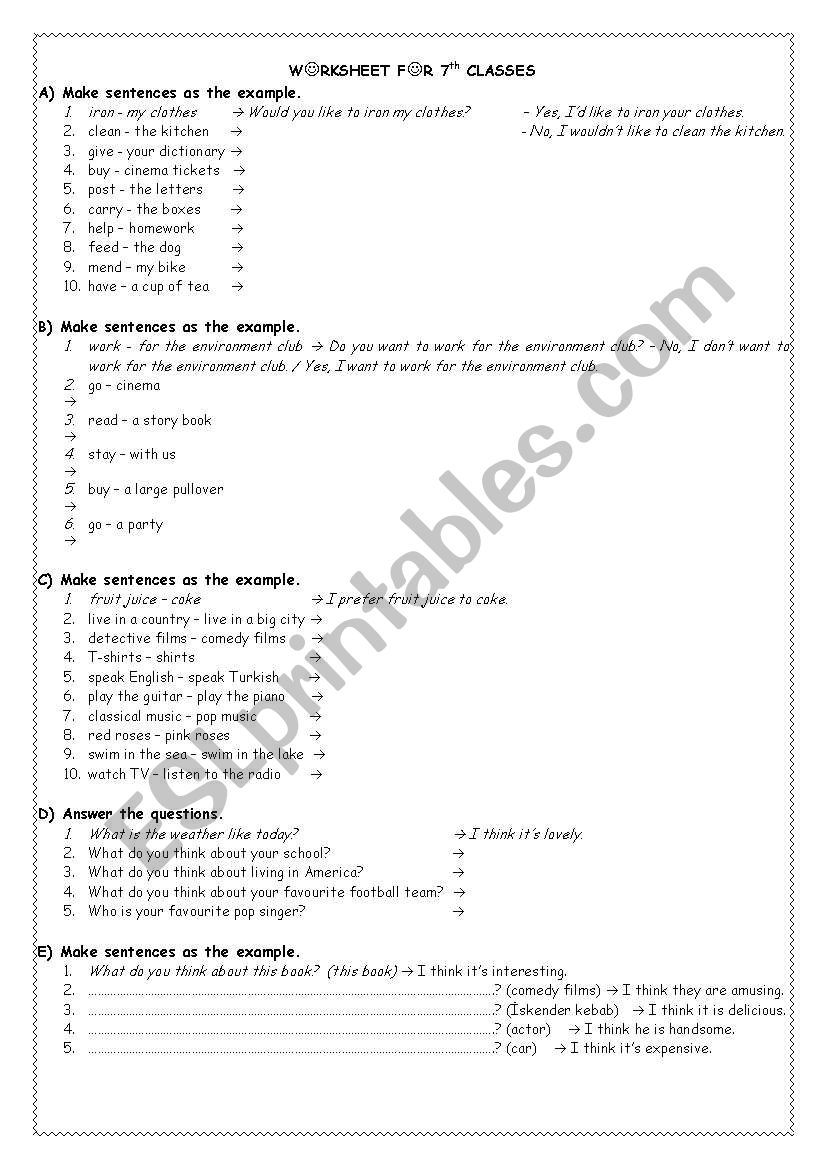 hight resolution of exercises for 7th grade - ESL worksheet by akkasemine