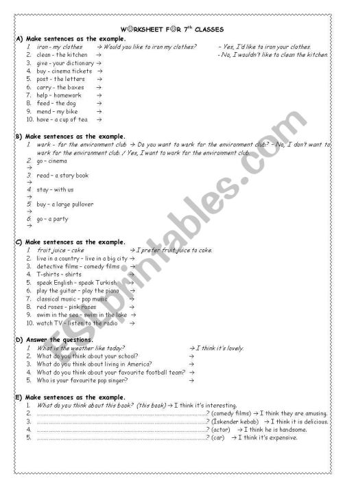 small resolution of exercises for 7th grade - ESL worksheet by akkasemine