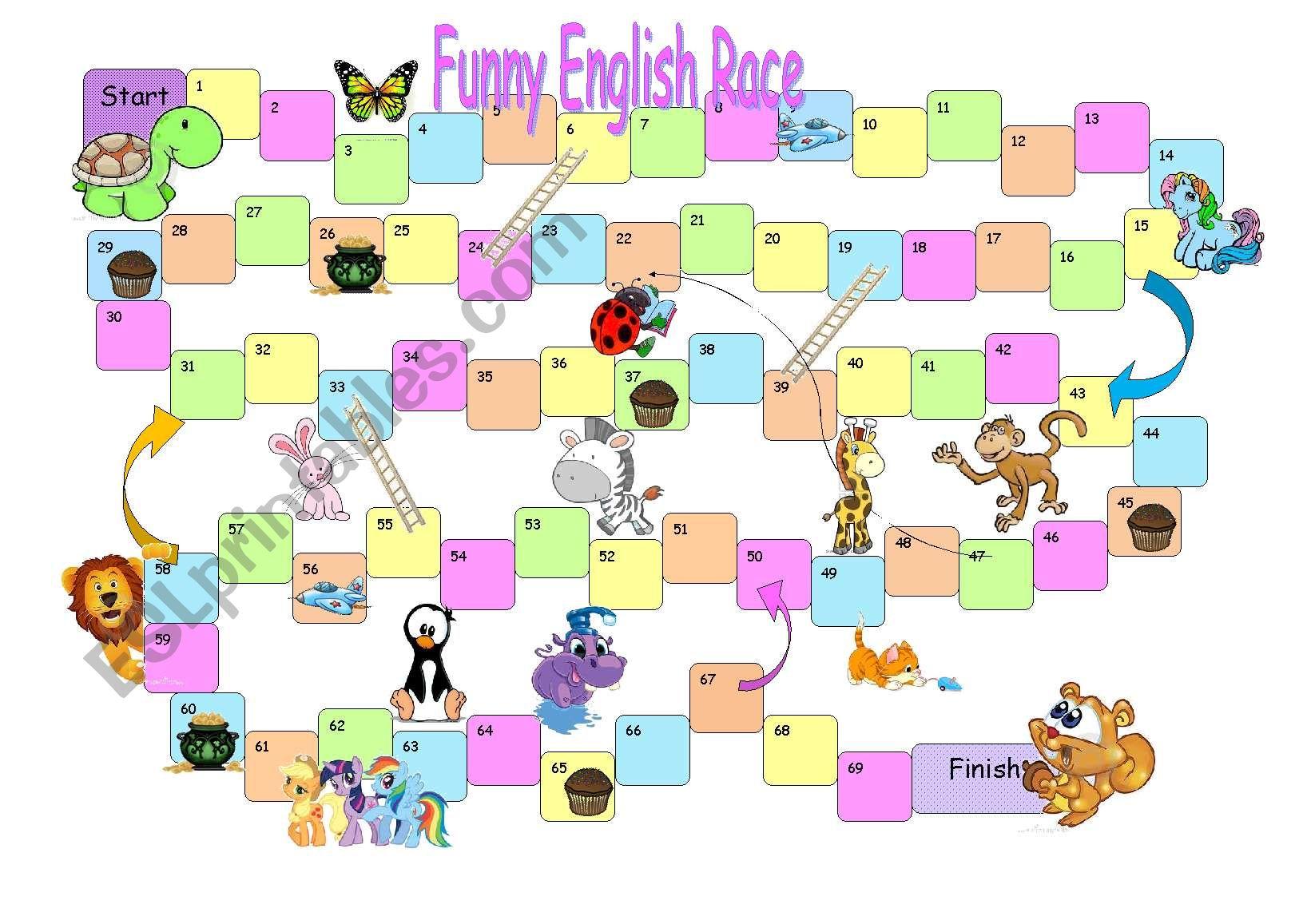 Board Game Funny English Race Orange Cards