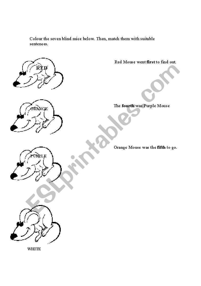English worksheets: colour the seven blind mice