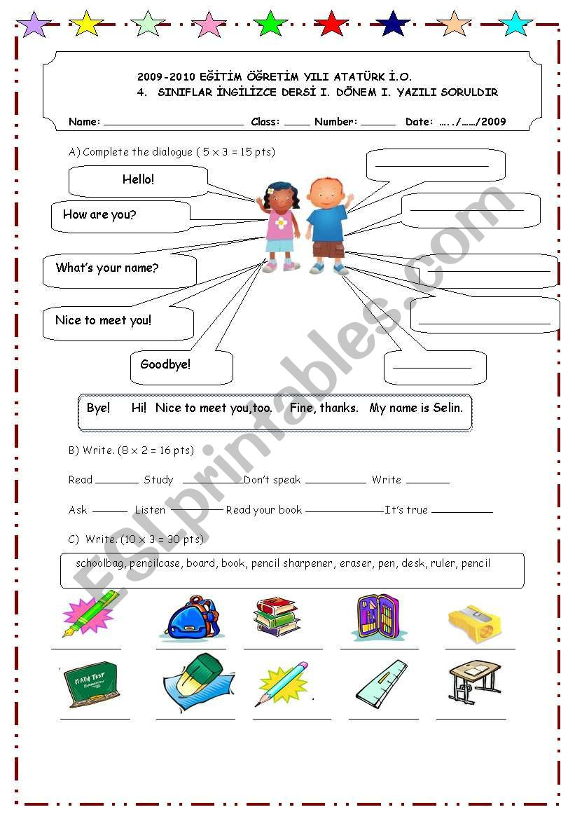medium resolution of first exam for 4th grade - ESL worksheet by OnUrFuNdA