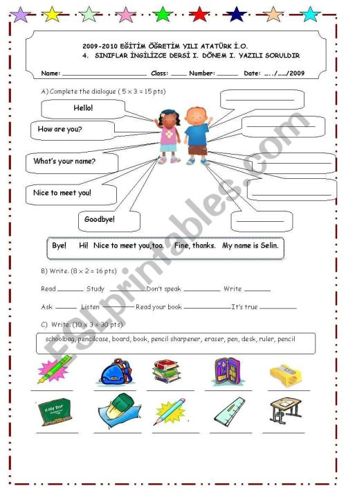 small resolution of first exam for 4th grade - ESL worksheet by OnUrFuNdA