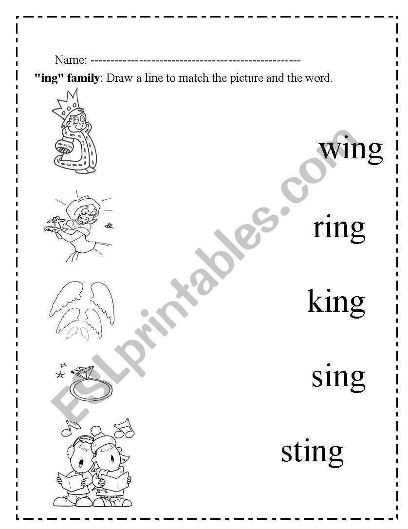 English worksheets: ing words