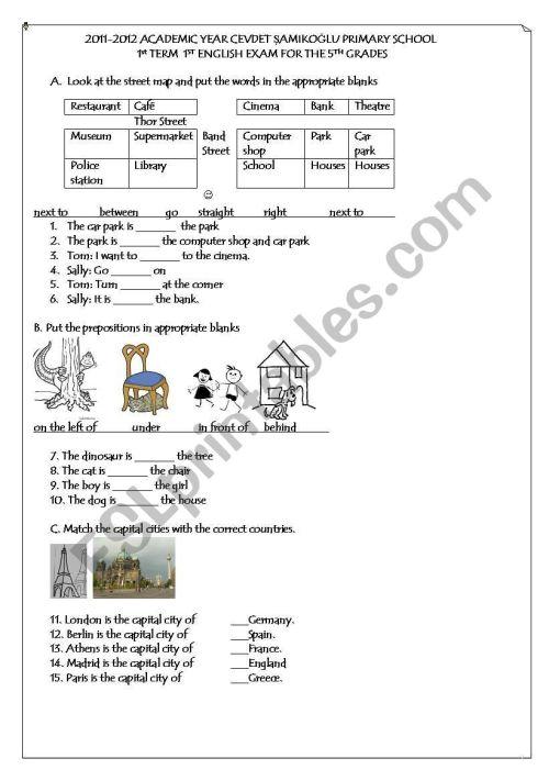 small resolution of 5th grade 1st term 1st exam - ESL worksheet by netameli